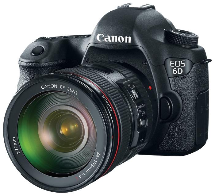 Зеркальный фотоаппарат Canon EOS 6D (WG) Kit EF 24-105mm IS STMпрофессиональная зеркальная фотокамера, байонет Canon EF, объектив в комплекте, модель уточняйте у продавца, матрица 20.6 МП (Full frame), съемка видео Full HD, экран 3, Wi-Fi, GPS, вес камеры без объектива 755 г<br><br>Вес кг: 0.80000000