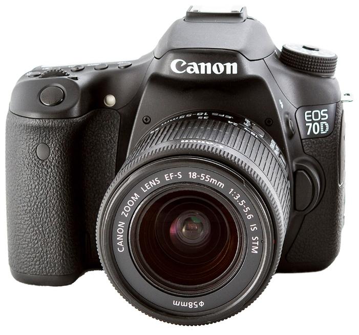 Зеркальный фотоаппарат Canon EOS 70D Kit 18-55mm DC IIIпродвинутая зеркальная фотокамера, байонет Canon EF/EF-S, объектив в комплекте, модель уточняйте у продавца, матрица 20.9 МП (APS-C), съемка видео Full HD, поворотный сенсорный экран 3, Wi-Fi, влагозащищенный корпус, вес камеры без объектива 755 г<br><br>Вес кг: 0.80000000