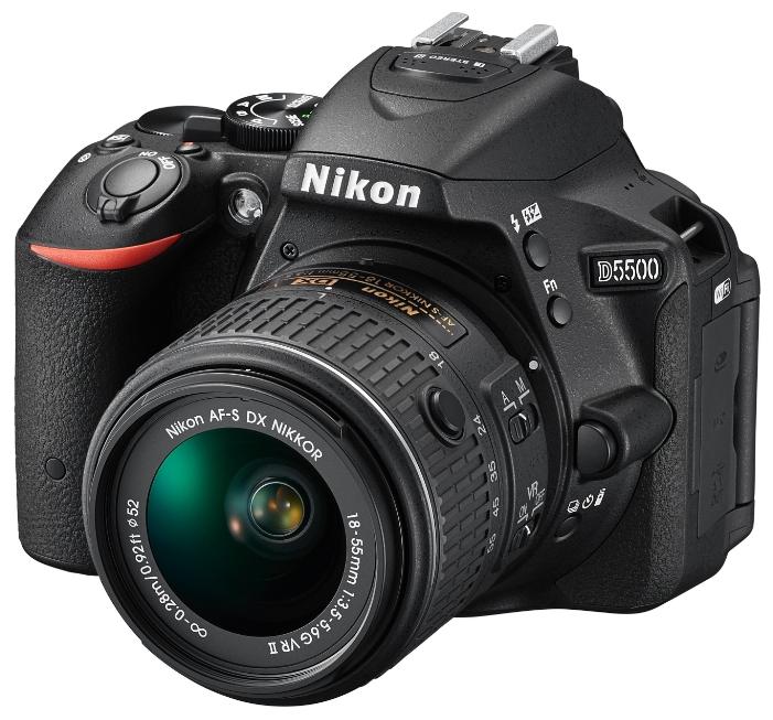 Фотоаппарат зеркальный Nikon D5500 Kit 18-140 VRлюбительская зеркальная фотокамера, байонет Nikon F, объектив в комплекте, матрица 24.78 МП (APS-C), съемка видео Full HD, поворотный экран 3.2, Wi-Fi, вес камеры без аккумулятора и объектива 420 г<br><br>Вес кг: 0.50000000