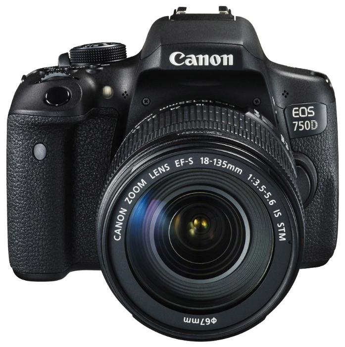 Зеркальный фотоаппарат Canon EOS 750D Kit 18-55 DC IIIлюбительская зеркальная фотокамера, байонет Canon EF/EF-S, объектив в комплекте,матрица 24.7 МП (APS-C), съемка видео Full HD, поворотный сенсорный экран 3, Wi-Fi, вес камеры без объектива 555 г<br><br>Вес кг: 0.60000000