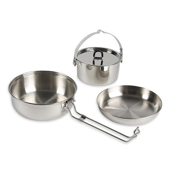 Набор посуды Tatonka Camp Set L кемпинговыйНабор посуды 3 предмета из нержавеющей стали. Складывается по принципу матрешки. Состоит из:<br><br><br>сковорода 17.3х4 см 150 г.;<br><br>кастрюля 13.5х5см, 0.6 л, 240 г.;<br><br>миска 16.5х3 см, 100 г.;<br><br>Упакован в сетчатый мешочек.<br><br>Вес кг: 0.60000000