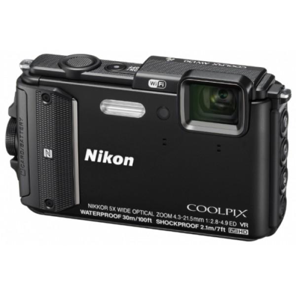 Фотоаппарат Nikon Coolpix AW130 компактныйкомпактная фотокамера, матрица 16.76 МП (1/2.3), съемка видео Full HD, оптический зум 5x, экран 3, Wi-Fi, GPS, влагозащищенный корпус, вес камеры 221 г, режим макросъемки<br><br>Вес кг: 0.30000000