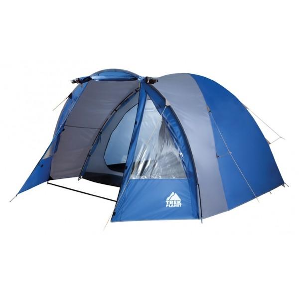 Палатка Trek Planet Indiana 5 кемпинговаяПятиместная двухслойная кемпинговая палатка TREK PLANET Indiana 5 с хорошей вентиляцией и большим и светлым тамбуром, хорошо подойдет для кемпинга выходного дня или отдыха на природе с семьей.<br><br>Простая и быстрая установка,<br>Тент палатки из полиэстера с пропиткой PU надежно защищает от дождя и ветра. <br>Все швы проклеены.<br>Высокий, вместительный и светлый тамбур,<br>Большие обзорные окна в тамбуре,<br>Дно из прочного водонепроницаемого армированного полиэтилена позволяет устанавливать палатку на жесткой траве, песчаной поверхности, глине и т.д.<br>Дуги из прочного стеклопластика;<br>Внутренняя палатка из дышащего полиэстера, обеспечивает вентиляцию помещения и позволяет конденсату испаряться, не проникая внутрь палатки;<br>Вентиляционное окно в спальном отделении,<br>Удобная D-образная дверь на входе во внутреннюю палатку,<br>Москитная сетка на входе в спальное отделение в полный размер двери,<br>Внутренние карманы для мелочей во внутренней палатке,<br>Возможность подвески фонаря в палатке.<br><br>Вес кг: 9.80000000