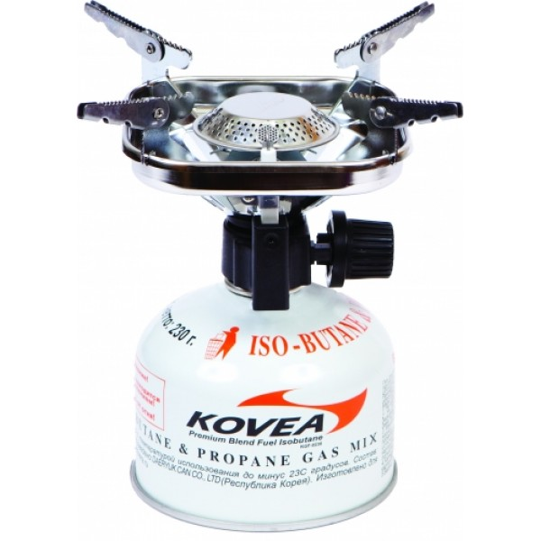 Горелка газовая Kovea TKB-8901Газовая горелка Kovea TKB-8901 Vulcan Stove — популярная портативная туристическая газовая горелка с пьезоподжигом. Благодаря увеличенному размеру головки пламя горелки рассеивается, что уменьшает вероятность пригорания пищи.<br><br>Раскладные лапки конфорки горелки позволяют использовать посуду большого размера и приготовить пищу для нескольких человек. Теплоотражающий экран квадратной формы экономит топливо и эффективно отражает тепло газовой горелки на дно посуды, увеличивая тем самым КПД.<br><br>Она работает от газового баллона резьбового стандарта, но возможно и подсоединение к цанговому газовому баллону при помощи адаптера со шлангом Cobra.<br><br>Вес кг: 0.35000000