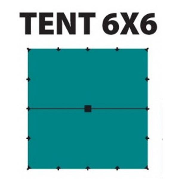 Тент Tramp TRT-103.04 размеры 6*6мТент полиэстеровый 6 х 6 м с оттяжками<br><br>Идеальная защита от дождя и солнца <br>Углы усилены вставками из прочной ткани <br>Полный комплект оттяжек<br>