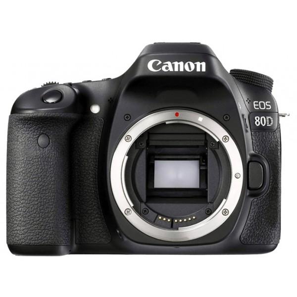 Зеркальный фотоаппарат Canon EOS 80D BodyМощная, универсальная и быстрая камера, которая позволит вам раскрыть свой творческий потенциал. Камера EOS 80D отлично подходит для съемки спортивных событий, портретов, пейзажей, улиц, путешествий и съемки при слабом освещении, а также для качественной видеосъемки, благодаря инновационным технологиям, которые позволяют получать превосходные результаты в любой ситуации.<br><br>Не упустите ни одного мимолетного движения спортивной игры и создавайте четкие фотографии даже при заливающем свете благодаря быстрореагирующей и точной системе автофокусировки, которая работает в сложных условиях освещения до -3 EV. 45-точечная система автофокусировки крестового типа позволяет выбрать точку или область фокусировки в соответствии с композицией и обеспечивает высокую точность и расширенные возможности управления фокусом по широкой зоне, гарантируя превосходный результат независимо от места постановки объекта в кадре.<br><br>Не упустите шанс и поймайте нужное мгновение благодаря максимальной скорости серийной съемки 7 кадров/с при полном разрешении.<br><br>Наслаждайтесь гибкостью управления на камерах EOS среднего формата благодаря настраиваемым кнопкам, верхнему ЖК-дисплею и видоискателю, которые позволяют вам легко и быстро регулировать настройки камеры.<br><br>Создавайте фотографии отличного качества под стать вашим творческим способностям. Камера EOS 80D обеспечивает превосходные изображения в различных условиях освещения, передающие все детали, цвета и настроение и готовые для редактирования и демонстрации, благодаря 24,2-мегапиксельному датчику изображений CMOS APS-C и процессору DIGIC 6.<br><br>Экспериментируйте с творческими ракурсами и наслаждайтесь интуитивным управлением, используя сенсорный ЖК-экран с регулируемым углом наклона Clear View II и диагональю 7,7 см. Снимайте действие под другим углом, выстраивая компоновку на экране с непрерывной съемкой в режиме Live View и системой Dual Pixel CMOS на скорости 5 кадров/с.<br><br