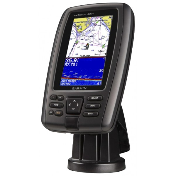 """Эхолот-картплоттер Garmin echoMAP CHIRP 42dvЭхолот-картплоттер echoMAP 42 dv оснащена высококонтрастным цветным дисплеем с диагональю 4.3"""" и автоматически регулируемой подсветкой. Быстрый и чувствительный 5 Гц приемник GPS/GLONASS обновляет данные местоположения и направления движения с частотой 5 раз в секунду, чтобы Ваше перемещение отображалось на экране более плавно. Прибор echoMAP поставляется в комплекте с трансдьюсером для сонара 77/200 кГц HD-ID и Garmin DownV?™, являясь самым четким сканирующим в воде сонаром. Кроме того, устройство поддерживает троллинговые моторы со встроенными трансдьюсерами Minn Kota® и MotorGuide®. Кабели комбинированного устройства подключаются непосредственно к креплению, что позволяет Вам быстро устанавливать и снимать прибор. В комплект входят крепления для транца и троллингового мотора.<br><br>Вес кг: 0.80000000"""