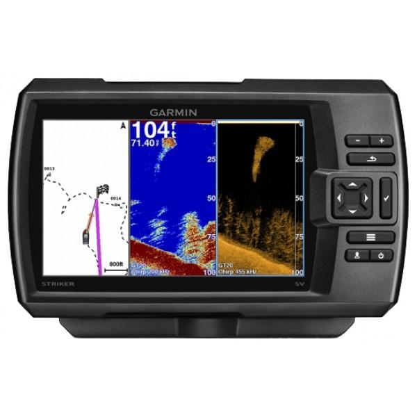 Эхолот Garmin STRIKER 7dvС эхолотом STRIKER 7dv поиск рыбы становится легким как никогда. Вы можете отмечать удачные места рыбалки, слипы и доки для возможности возврата к сохраненным точкам, а также обмениваться данными (маршрутными точками и маршрутами) с другими моделями серии STRIKER и echoMAP™. Кроме того, прибор включает встроенный флэшер и отображает данные скорости. В комплект входит поворотное/ наклонное крепление, трансдьюсер CHIRP (77/200 кГц) с крепежом для транца и троллингового мотора, кабель.<br><br>Вес кг: 0.70000000