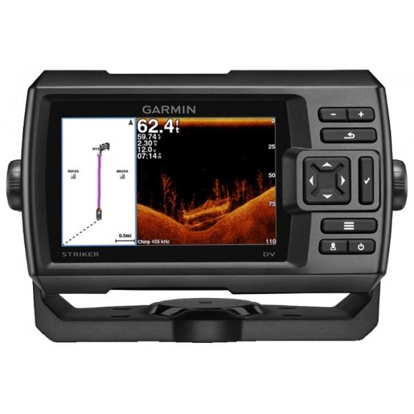 """Эхолот Garmin STRIKER 5dvРыбопоисковый эхолот CHIRP с GPS, дисплеем 5"""" и сканирующим сонаром DownV?<br><br>Простой в использовании рыбопоисковый эхолот с цветным дисплеем 5"""", встроенным высокочувствительным GPS-приемником и сканирующим сонаром Garmin CHIRP DownV?™<br>Найдите рыбу, отметьте точку и вернитесь к сохраненному местоположению<br>В комплекте трансдьюсер Garmin GT20 с CHIRP (77/200 кГц); мощность передачи (500 Вт RMS)/(2,400 Вт максимум) с 455/800 кГц CHIRP DownV? (мощность 300 Вт)<br>Возможность усовершенствования системы для получения CHIRP высокой мощности с помощью трансдьюсера GT22 или GT23 (продаются отдельно)<br>Обмен маршрутными точками и маршрутами с другими устройствами STRIKER или echoMAP™<br><br>Вес кг: 0.50000000"""