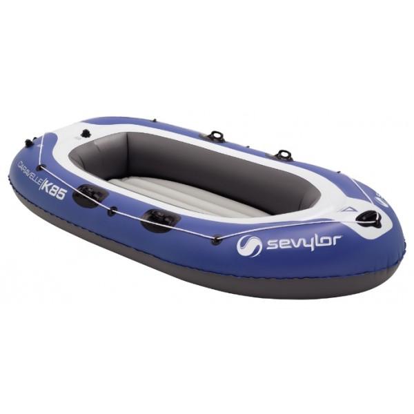 Лодка надувная Sevylor Caravelle K85Надувная 3-х местная лодка (2 взрослых + ребенок) Грузоподьемность - 250 кг. Клапаны -Boston и Mini Double Lock. Надувной пол. Количество камер - 4 Размер в надутом состоянии: 271 x 128 см. Вес: 7,1 кг. Возможность установки мотора.<br><br>Вес кг: 7.20000000