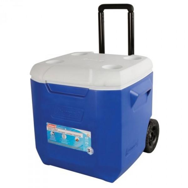 Контейнер изотермический Coleman 45 Qt WheelИзотермический контейнер 43 л на колесах; удобная ручка для перевозчки;Способность сохранять холод - до 30 часов с заментелями льда Freez'Pack, Сделано в США<br>