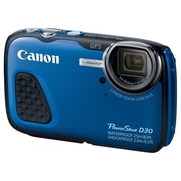 Компактный фотоаппарат Canon PowerShot D30 подводныйКомпактная и прочная цифровая камера для любителей активного отдыха<br>Погружайтесь еще глубже — вы можете снимать на глубине до 25 м, камера ударопрочная (рассчитана на падение с высоты до 2 м), морозоустойчивая (-10 °C) и пыленепроницаемая<br>Отличные результаты даже в условиях слабой освещенности благодаря системе HS 12,1 МП<br>28 мм, 5-кратный оптический зум с интеллектуальной стабилизацией изображения<br>Великолепные снимки, сделанные под водой в режиме подводной съемки с использованием функции пользовательского баланса белого<br>Функция GPS позволяет добавлять к изображениям метки и отслеживать места съемки<br>Удобство просмотра изображений при ярком свете благодаря использованию большого ЖК-экрана 7,5 см (3,0) PureColor II в режиме работы при солнечном свете<br>Видеоролики в формате Full HD (1080p) с оптическим зумом и HDMI<br>Просто наведите камеру и снимайте в режиме Smart Auto (32 сюжетные программы)<br>Еще больше способов запечатлеть событие с функциями видеодайджеста и сверхзамедленного воспроизведения.<br><br>Вес кг: 0.30000000