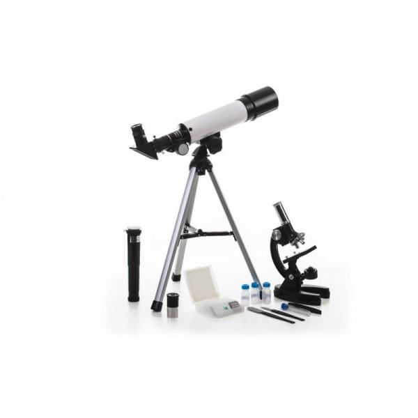 Учебный набор Velvi в кейсе (телескоп рефрактор 360/50 + микроскоп 1200х)Телескоп рефрактор Velvi 360/50 — отличный подарок для вашего ребенка! Легкий, простой в использовании. Возможно, он станет первым научным прибором в его жизни. Его можно использовать и днем и ночью. Днем — как обычную подзорную трубу, а ночью, естественно, по прямому назначению. Телескоп дает прямое, а не перевернутое изображение. С помощью сменных окуляров (в комплекте 2 шт.) и линзы Барлоу, можно получить увеличение от 18х до 90х. Окулярная часть с 90° зеркалом позволяет проводить наблюдения, разместив прибор на столе (высота штатива 360 мм). Использовать прибор днём лучше при увеличении 18х (с окуляром 20 мм), тогда ближняя точка фокусировки будет около 5 метров.<br><br>Микроскоп 1200х — прибор для ребёнка, желающего погрузиться в увлекательный мир микробиологии. Любознательность юных исследователей не знает границ, и, подарив ребенку микроскоп, вы сможете вместе найти ответы на самые разнообразные вопросы. Микроскоп оснащен револьверным устройством с тремя объективами, обеспечивающими увеличение 300, 600 и 1200 крат. Предметный столик снабжен зажимами для фиксации изучаемых препаратов. Подсветка осуществляется при помощи зеркала и лампочки, работающей от батареек.<br><br>Набор удобно укладывается в противоударный двухслойный кейс для переноски. Сборка занимает не больше пары минут. Так с ним удобнее выезжать загород, где и небо чище и лучше видны звезды и окружающие пейзажи.<br>