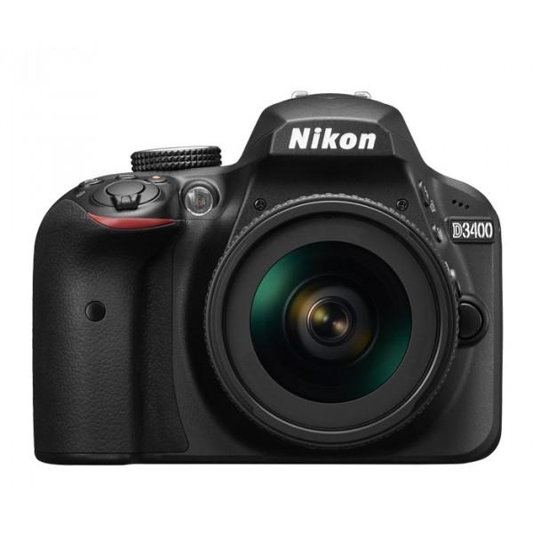 Фотоаппарат Nikon D3400 Kit 18-55 AF-P зеркальныйЦените момент! Снимайте великолепные изображения и мгновенно делитесь ими с помощью фотокамеры D3400.<br><br>С цифровой зеркальной фотокамерой D3400 вы можете с необычайной легкостью снимать высококачественные изображения и обмениваться ими. Приложение Nikon SnapBridge? позволяет подключить фотокамеру к интеллектуальному устройству с помощью интерфейса Bluetooth®? и синхронизировать фотографии непосредственно в процессе съемки. Достаточно взять в руки телефон, и фотографии уже будут на нем, готовые к публикации в социальных сетях — без лишней суеты и ожидания.<br><br>И изображения будут отнюдь не заурядные. Большая матрица формата DX с разрешением 24,2 млн пикселей обеспечивает великолепное качество изображения при недостаточном освещении и вместе с объективом NIKKOR позволяет получить художественный эффект размытого фона. Пользуясь режимом справки, вы сможете усовершенствовать свое мастерство, а благодаря батарее высокой емкости фотокамера D3400 всегда будет готова к съемке, позволяя запечатлеть самые памятные моменты.<br><br>С фотокамерой D3400 вы будете с легкостью получать неизменно впечатляющие высококачественные снимки. Выйдите за рамки привычного и почувствуйте настоящую свободу творчества, получая великолепные снимки в условиях недостаточного освещения и создавая портреты с мягким размытым фоном. Фотографии и видеоролики отличаются высокой детализацией благодаря большой матрице формата DX с разрешением 24,2 млн пикселей, мощному процессору Nikon EXPEED 4 и объективу NIKKOR. Благодаря широчайшему диапазону чувствительности ISO (от 100 до 25 600 единиц) вы получите четкие изображения даже практически в полной темноте, будь то рок-концерт или романтическая вечерняя прогулка. Добавьте к этому возможность постоянного соединения – и у вас есть все необходимое для съемки фотографий, которые вы с гордостью сможете показать всему миру. Моментально.<br><br>Великолепные возможности фотокамеры D3400 не ограничиваются фото