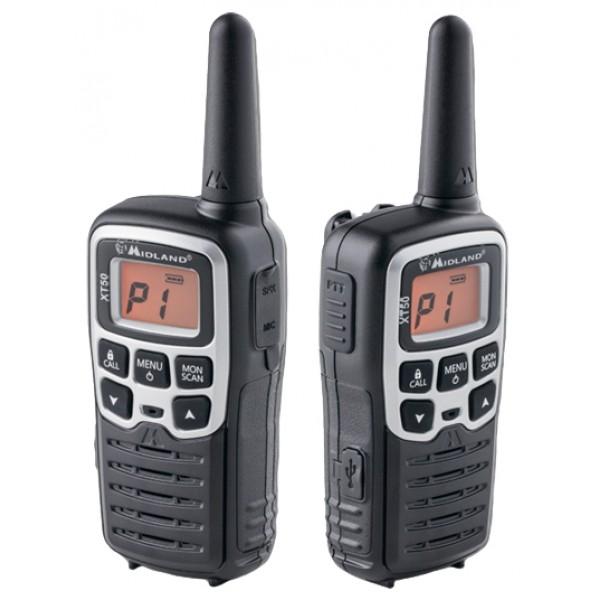 Радиостанция Midland XT50 портативнаяЧеткий прием, четкая передача и отличное качество звука характеризуют PMR рацию Midland XT50 и всю линейку X-TALKER.<br><br>XT50 оснащена разъемом 2Pin для подключения гарнитуры и разъемом micro USB . 24 канала PMR (8 + 16 заранее запрограммированных) и набор основных функциональных возможностей позволяют использовать модель ХТ50 и для работы, и во время отдыха.<br><br>Вес кг: 2.40000000