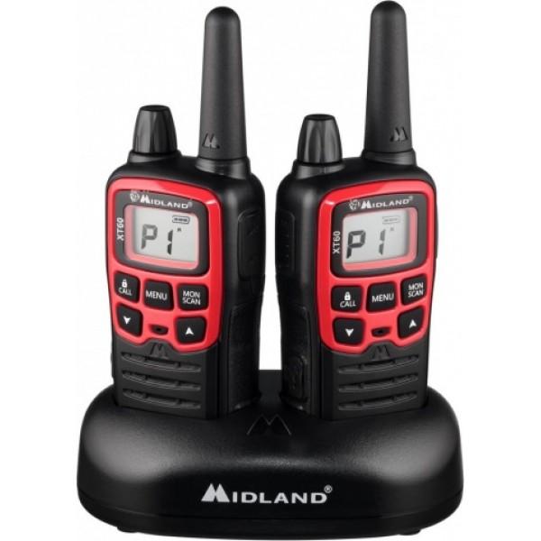 Радиостанция Midland XT60 LPD + PMR портативнаяMidland XT60 – двухдиапазонная (PMR+LPD) модель из линейки X-TALKER. В комплекте XT60 новые клипсы «типа GXT» и быстрое зарядное устройство (настольный стакан на 2 рации + кабель USB). Включение/выключение и регулировка громкости у рации XT60 осуществляется с помощью «ручки» в верхней части корпуса. Источник питания: блок аккумуляторов Ni-MH (в упаковке) или аккумуляторы Ni-MH (3хААА).<br><br>Разъем micro USB. Зарядка от USB (USB кабель в комплекте. Быстрое зарядное устройство (2-3 часа для аккумуляторов, входящих в комплект). Клипса пит GXT<br>