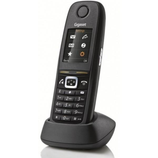Дополнительная трубка Gigaset R650H PROGigaset R650H PRO - Новое, надежное, беспроводное устройство объединяющее в себе новейшие стандарты связи и являющееся необходимым для использования в офисных помещениях. Благодаря обновленной версии платформы CAT-IQ 2.0, Gigaset R650H PRO предлагает те же функции , что и другие Gigaset телефоны серии PRO, включая HD Audio, HD Voice и блокировки с PIN.<br><br>Имеет класс защиты IP65 и поддерживает возможность обновления программного обеспечения беспроводным методом (SUOTA). Вы можете обновить все телефоны Gigaset серии PRO внутри сети N720 одновременно из удаленного местоположения. Это экономит время и повышает качество обслуживания клиентов. TFT дисплей размером 1.8 дает возможность, используя символы, получить доступ к данным, информации и контактам особенно легко.<br><br>Не скользящая поверхность телефона обеспечивает идеальное сцепление для пользования устройством. Дисплей с подсветкой удобен для пользования телефоном при низкой освещенности, а чувствительные к давлению клавиши для работы в перчатках или других средствах защиты.<br><br><br>Подсвечивающийся TFT дисплей размером 1.8<br><br>Клавиши для регулировки громкости во время разговора<br><br>До 14 часов в режиме разговора<br><br>LED индикация оповещения о звонке<br><br>Различные профили для внутреннего, общего и личного пользования<br><br>Спикерфон в качестве HD<br><br>Полная совместимость с IP-системой Gigaset N510, с IP-N720<br><br>Локальная телефонная книга до 200 записей, и предприятие телефонной книги УАТС (XML, LDAP)<br><br>вибровызов<br><br>Режим заряда с параллельным приемом звонка<br><br>CAT-IQ 2.0 совместимость<br><br>беспроводной метод SUOTA для обновления CAT-Iq, N510IP или N720IP<br><br>Расширенный Журнал вызовов - список входящих, исходящих, пропущенных и не отвеченных вызовов<br><br>Регулировка чувствительности микрофона<br><br>блокировка с PIN<br><br>Отключение звука в режиме зарядки<br><br>Загрузка в режиме OFF<br><br>Настенное крепление зарядного устр