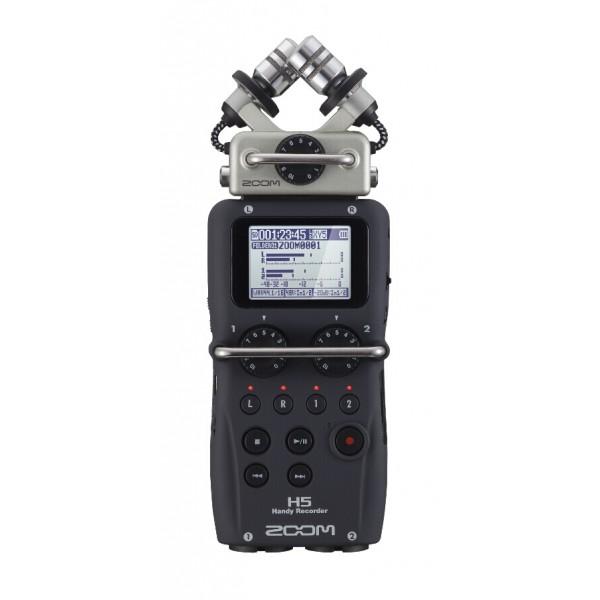 Рекордер Zoom H5Устройства Zoom продолжают постоянно эволюционировать, чтобы соответствовать требованиям всех творческих людей, которые их используют. Новый ручной рекордер Zoom H5 следует этой традиции. Он позволяет записывать до четырех треков одновременно и, как и флагманская модель Zoom H6, он совместим со всеми микрофонными капсюлями, что позволяет вам выбрать лучший микрофон для отдельно взятой ситуации. Рекордер Zoom H5 вобрал в себя достоинства студийного оборудования для звукозаписи. Его гибкости и мощности более чем достаточно для мультитрековой аудио и видеозаписи, ведения подкастов, трансляций и сбора информации для электронных новостей.<br><br><br>Использование различных легкосъемных функциональных модулей<br><br>Съемный микрофонный X/Y капсюль XYH-5 с расширенной способностью охвата аудиосигнала<br><br>Совместимость со всеми съемными микрофонными капсюлями компании Zoom<br><br>Одновременная запись на четыре дорожки<br><br>Большой LCD-дисплей с подсветкой<br><br>Прямая запись на карты памяти типа SD и SDHC емкостью до 32 Гб<br><br>Аудиозапись в формате WAV (24-бит/96 кГц) или MP3<br><br>Два совмещенных микрофонных/линейных входа типа XLR/TRS, каждый с регулируемой мощностью и аттенюатором -20 дБ<br><br>Аналоговые регуляторы для каждого входа<br><br>Защитные крышки типа «roll-bar» для предотвращения случайного поворота регуляторов<br><br>Подача Plug-in питания 2,5В на петличный микрофон<br><br>Встроенные аудиоэффекты, включая фильтр низких частот, компрессор и лимитер<br><br>Тюнер и метроном<br><br>Режимы автоматической записи, предварительной записи, резервного копирования<br><br>Декодер моно/стерео<br><br>Запись на несколько дорожек для встроенного стерео микшера<br><br>Функции редактирования: нормализация, обрезка и разделение файлов<br><br>Возможность установки 99 маркеров в процессе аудиозаписи<br><br>Циклическое воспроизведение отрезка звукозаписи<br><br>Выбор скорости воспроизведения и уровня записи<br><br>Многоканальный и стерео USB аудио интерфе