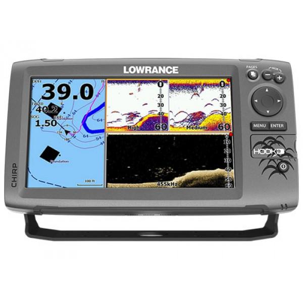 Эхолот-картплоттер Lowrance Hook-9Эхолот/картплоттер Lowrance HOOK-9 с ярким 9 дюймовым цветным экраном сочетает CHIRP Sonar с технологией DownScan Imaging. Легче и чётче различает объекты в воде, обеспечивает лучшее разделение объектов на большой глубине, чётче фиксирует изображение рыб даже при движении лодки на высокой скорости. Яркий экран обеспечивает максимальную четкость, позволяющую увидеть все детали при любых условиях.<br><br>Система ASP (Advanced Signal Processing) снижает необходимость ручной настройки параметров для обнаружения рыбы, увеличивая при этом резкость изображения структуры и детализацию поверхности дна.<br><br>Встроенная 16-канальная антенна GPS дает высокую точность позиционирования с возможностью дополнительного уточнения посредством данных WAAS+EGNOS+MSAS (в зоне покрытия).<br><br>Влагозащищенный разъем для карты памяти microSD служит для установки картографии серии Navionics® Gold и C-Map Max-N. Внутренняя память может хранить до 3 000 маршрутных точек, 100 маршрутов (до 100 маршрутных точек каждый) и 100 треков с возможностью возврата по ним (до 10 000 точек на трек).<br><br>Кнопка питания также управляет подсветкой, чтобы настроить для дневной или ночной рыбалки. Дизайн корпуса и крепления позволяет легко установить эхолот и осуществлять простую настройку угла наклона дисплея. Меню на русском языке.<br><br>Особенности<br><br><br>Яркий экран в высоком разрешении с диагональю 9 обеспечивает превосходную читаемость на солнце и максимально широкие углы обзора<br><br>Технологии CHIRP Sonar и DownScan Imaging™ обеспечивают качественное и четкое изображение структуры дна.<br><br>Высокочувствительная, встроенная GPS-антенна<br><br>Совместимость с картами Navionics® Gold и C-Map Max-N, с возможностью обновления и загрузки новых карт.<br><br>ASP (Advanced Signal Processing) - система фильтрации помех. Снижает необходимость ручной настройки параметров для обнаружения рыбы, увеличивая при этом резкость изображения структуры и детализацию поверхност