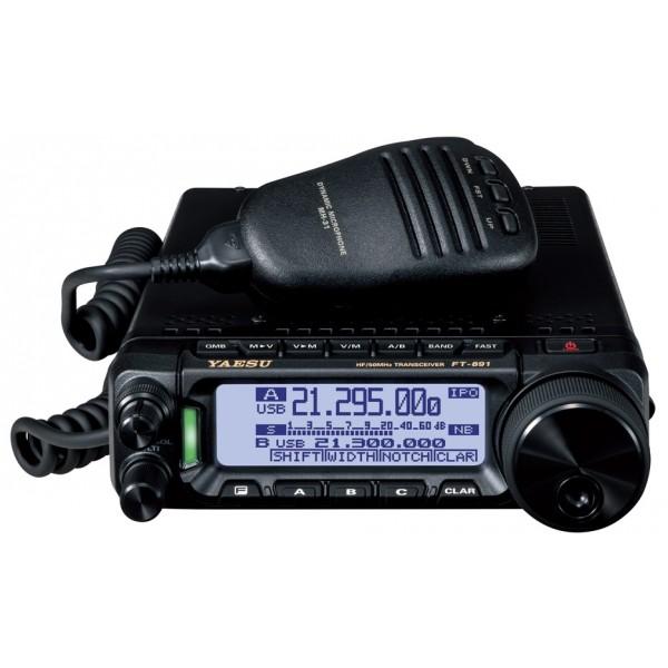 Радиостанция Yaesu FT-891 трансивер автомобильныйКоротковолновый (+ 50МГц) базово-автомобильный трансивер FT-891 Трансивер FT-891 в очередной раз является продолжением наследия Yaesu, который обеспечивает непревзойденную производительность в качестве мобильного или базового радиолюбительского трансивера. Высокопроизводительный 32-битный DSP обеспечивает более чистый, четкий сигнал и создает более приятную среду для любого радиолюбителя.<br><br><br>Современная схемотехника обеспечивает непревзойденное качество принимаемого сигнала<br><br>Приёмник с тройным преобразованием (SSB/CW/AM)<br><br>Руфинг фильтр 3 кГц очень эффективен для ослабления мешающих сигналов<br><br>Встроенный высокостабильный кварцевый генератор обеспечивает высокую стабильность частоты: ± 0.5 ppm (при температуре окружающей среды от-10°C до +50°C)<br><br>Съёмная лицевая панель управления, как это было сделано ранее в FT-857<br><br>Два встроенных малошумящих вентилятора<br><br><br>Стабильная выходная мощность 100 Вт Трансивер FT-891 обеспечивает стабильную высокую выходную мощность 100 Вт (25 Вт в режиме AM). Эффективная защита трансивера по тепловому режиму обеспечивается благодаря тщательно спроектированной схеме передатчика и проверенной многолетним опытом системы охлаждения (с помощью массивного алюминиевого шасси с радиатором охлаждения и встроенного малошумящего вентилятора).<br><br>Современный высокопроизводительный 32-битный ПЧ ЦСП<br><br>32-разрядный высокоскоростной цифровой сигнальный процессор с плавающей точкой позволяет эффективно подавить или существенно снизить уровень и обеспечить эффективное подавление самых различных видов помех, в том числе и импульсных, которые часто мешает на КВ диапазонах. Оптимизированные фильтры AUTO NOTCH (DNF) автоматически устраняют помехи, а функция CONTOUR и APF обеспечивают дополнительную обработку сигнала на КВ диапазонах.<br><br>Встроенный порт USB, расположенный на задней панели трансивера, позволяет непосредственно соединить его с компьютеру при по