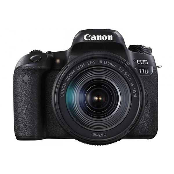 Зеркальный фотоаппарат Canon EOS 77D Kit EF-S 18-135 mm F/3.5-5.6 IS USMКамера предлагает максимальное удобство управления органами и функциями меню, включая два диска, отвечающих за настройку диафрагмы и выдержкми, а также ЖК-экран на верхней панели с информацией о настройках. Если вы начинающий фотограф, вам непременно понравятся подсказки работы различных настроек меню. Камера поддерживает модули NFC и Wi-Fi. Легко передавайте фотографии или видео на смартфон и планшет, или на Canon Connect Station, редактируйте и делитесь со всеми. Технология Bluetooth® позволяет дистанционно включать камеру и просматривать фотографии, не вынимая ее из рюкзака, а также управлять процессом съемки со смартфона или нового пульта дистанционного управления BR-E1.<br><br>Вес кг: 0.90000000