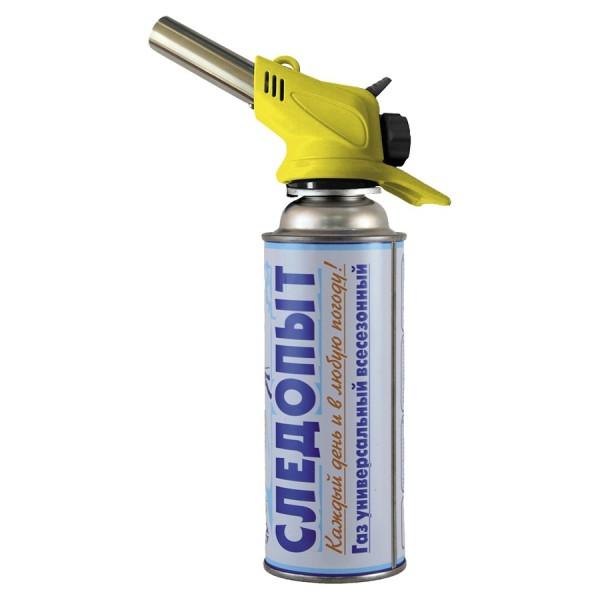 Резак газовый Следопыт пьезо GTP-N02Особенности обновленной портативной горелки Следопыт-GTP-N02:<br><br><br>керамическое покрытие внутренней части горелки;<br><br>автоматический розжиг одним нажатием;<br><br>компактный и экономичный дизайн;<br><br>простота в использовании;<br><br>удобство в работе;<br><br>подходит для работы как в быту, так и на производстве.<br><br><br>Используйте газовую горелку: в быту:<br><br><br>для прогрева замерзших жидкостей в водопроводных и прочих магистралях;<br><br>для работы с медными припоями;<br><br>для работы с грибком и уничтожения насекомых, обитающих в скрытых полостях;<br><br>для придания поверхностям деревянных изделий декоративного вида;<br><br>для удаления старой краски;<br><br>при приготовлении пищи:<br><br>для карамелизации сладких десертов, фруктов;<br><br>для обработки тушек птиц и животных;<br><br>для придания цвета и текстуры приготовленным продуктам;<br><br>для розжига топлива в каминах, мангалах и на гриле.<br><br>Вес кг: 0.20000000