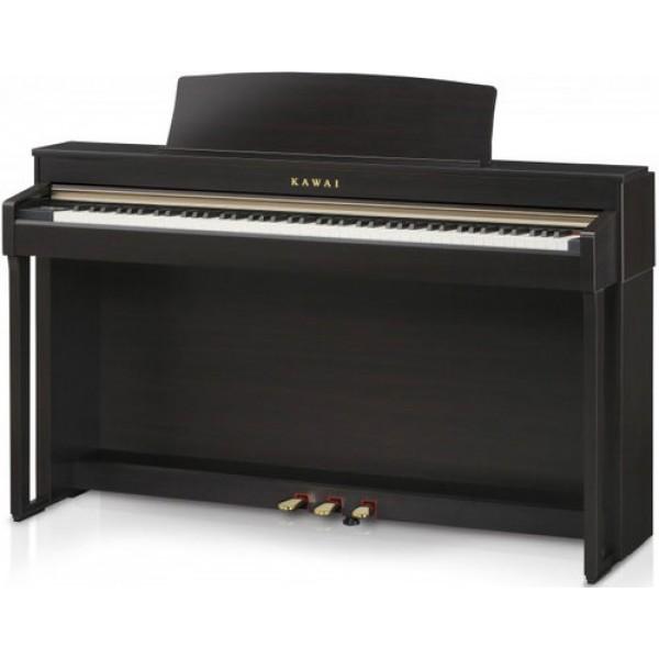 Цифровое пианино Kawai CN37Цифровое пианино Kawai CN37 является достойным преемником предыдущей модели данной линейке клавишных инструментов. Оно оснащено передовой механикой Responsive Hammer III, которая во всех деталях воссоздает уникальные ощущения от игры на концертном рояле. Благодаря реалистичному ходу клавиш и ригидной, беспружинной конструкции, игра на CN37 отличается гладкостью и естественностью.<br><br>Вес каждой клавиши в точности подобран в соответствии с весом молоточков концертного рояля, а эффект отпускания клавиш (Let-off) воссоздает едва заметное звучание при мягком нажатии на клавиши. Подобное внимание к деталям максимально приближает ощущения от игры к настоящему акустическому инструменту и повышает эффективность репетиций, даже для пианистов самого высокого уровня.<br><br>Вдобавок к этому, новая клавиатурная механика Grand Feel III оснащена противовесами на каждой из клавиш от базов до верхних нот в полном соответствии с ее прототипом из акустического инструмента. Это позволяет облегчить вес клавиш во время пианиссимо, и в то же время подчеркнуть его при более экспрессивной игре.<br><br>Система детекции нажатия клавиш с тройным сенсором еще больше увеличивает точность и отзывчивость механики, а особенности конструкции позволяют минимизировать шум и дрожание клавиш при исполнении стаккато и фортиссимо.<br><br>Несравненным достоинством цифрового пианино Kawai CN37 является 4-сторонняя система динамиков, созданная с целью точного воссоздания гармонического спектра акустического пианино. Низкие частоты передаются из-под инструмента, в то время как за передачу средних и верхних частот отвечают динамики, расположенные наверху инструмента, повторяя тем самым, акустическую картину настоящего концертного рояля.<br><br>Помимо реалистичного звучания и ощущений от игры, CN37 предлагает пианисту широкий ряд дополнительных возможностей для различных уровней мастерства игры. Функция обучения поможет начинающим пианистам выучить классические этюды Черни, Бургмю