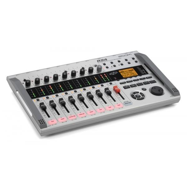 Портативная студия ZOOM R24Портативная звукозаписывающая студия ZOOM R24: рекордер, аудиоинтерфейс, контроллер, сэмплер<br><br>Zoom R24 — идеальный выбор для тех, кто собирается оставить свой след в истории. В нем есть все необходимое для профессиональной записи студийного качества: 24-дорожечный рекордер, сэмплер с пэдами, драм-машина, контрольная панель и компьютерный аудиоинтерфейс. В нем даже есть встроенные конденсаторные микрофоны, а также 8 входов для подключения внешних микрофонов и музыкальных инструментов и хроматический тюнер. Кроме того, R24 имеет большой арсенал эффектов для обработки записей, включая компрессоры, ревербераторы, дилэй, эмуляторы усилителей и мастеринг-эффекты.<br><br>Вес кг: 1.30000000