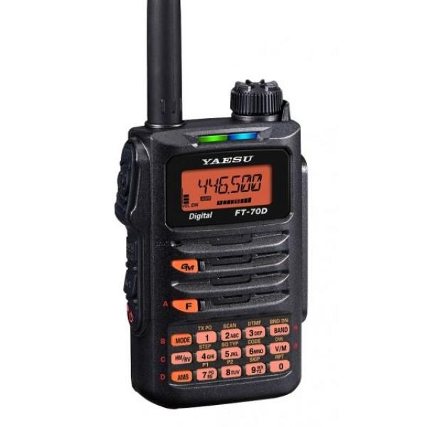 Радиостанция Yaesu FT-70DRYaesu FT-70DR - современная двухдиапазонная (144/430 Мгц) цифро-аналоговая рация с передатчиком мощностью 5 Вт. В режиме цифровой модуляции уникальное качество звука достигается при помощи динамика мощностью 700мВ. Цифровой режим C4FM превосходит многие известные цифровые режимы по качеству звучания и за счет минимальных бит-ошибок.<br><br>Рация может работать с любыми аналоговыми радиостанциями, но в цифровом стандарте только c FT-1DR, FT-2DR, FTM-400DR, FTM-100DR, FTM-3200DR. Дисплей рации YAESU FT-70DR снабжен различными цветами подсветки, что создает дополнительные удобства при использовании. Светодиодные индикаторы меняют цвет в зависимости от вида работы (прием/передача).<br><br>Отдельного упоминания заслуживает функция Digital Group Monitor (GM) с DG-ID и DP-ID. DG-ID (Digital Group Identification) (идентификация цифровой группы) и DP-ID(цифровая персональная идентификация) включены в функционал рации для того, чтобы облегчить функцию Digital Group Monitor. Рации с одинаковыми DG-ID или DP-ID могут общаться друг с другом. Можно выбрать персональные настройки DP-ID или DG-ID в диапазоне от 0 до 99, и общаться максимально удобно.<br>