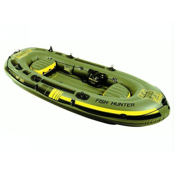 Лодка надувная Sevylor HF360 Fish hunter 4-х местнаяНадувная лодка Sevylor 204720 Fish Hunter 360 из прочного ПВХ (толщина материала 0,7мм). Способна нести бензиновый мотор до 3 л.с. или эл,мотор SBM 12V. Количество воздушных камер – 5, грузоподъемность 400 кг. Два надувных сиденья. Дренаж для слива воды. Максимальное количество мест 4 человека. Размеры - 340 см х 1409 см., вес 18,8 кг.<br><br>Вес кг: 18.90000000