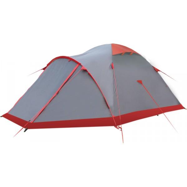 Палатка Tramp MOUNTAIN 3 экстремальнаяMountain 3 - трехместная дуговая палатка от Tramp, подходящая для путешествий любой сложности. Модель отличается высокой прочностью, простотой установки и долговечностью. Как и большинство палаток, рассчитанных на длительные походы, она состоит из 2 тентов – спального отсека, имеющего дно и обеспечивающего туристов другими удобствами (сетка от насекомых, карманы, крепление для фонаря и т. п.) и устанавливаемого поверх наружного навеса. Последний выступает в качестве основного элемента, так как именно к нему крепятся каркасные дуги. Одна из них используется для увеличения полезной площади палатки, создавая у переднего входа достаточно просторное помещение, высотой почти со спальный отсек, а напротив располагается обычный косой тамбур.<br><br>Внутренняя палатка достаточно высокая (радиус купола - 1,3 м), внутри можно не только лежать, но также сидеть и передвигаться. Даже при наличии внутри большого количества вещей и спальных мешков по бокам палатки всё равно остается достаточно пространства для вашего перемещения.<br><br>Mountain 3 можно использовать в течении всего года, как для кратковременных походов, так и для длительных экспедиций. Все детали (дуги, тенты, колышки) легко умещаются в предоставляемый в комплекте чехол. Суммарный вес элементов – 4,5 кг. Чехол имеет вертикальные и горизонтальные ручки, так что его удобно нести как отдельную сумку. Снабжена подробной инструкцией по сборке.<br><br>Вес кг: 4.40000000