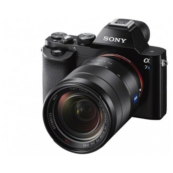 Фотоаппарат Sony Alpha ILCE-7S Kit 28-70mm со сменной оптикойфотокамера с поддержкой сменных объективов, байонет Sony E, объектив в комплекте 28-70, матрица 12.4 МП (Full frame), съемка видео Full HD, поворотный экран 3, Wi-Fi, вес камеры без объектива 489 г<br><br>Вес кг: 0.50000000