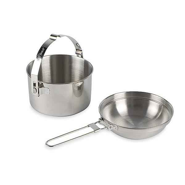 Набор посуды Tatonka Kettle 4.0Набор посуды 2 предмета из нержавеющей стали. В комплекте: котелок, сковородка со складной ручкой (можно использовать как крышку к кастрюле или тарелку)<br><br>Вес кг: 0.80000000
