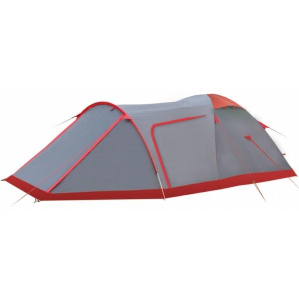 Палатка Tramp CAVE экстремальнаяПросторная трехместная палатка, продолжающая серию моделей, созданных «Tramp» для применения в походах различного уровня сложности. Изделие отличается высокой прочностью, и устойчивостью к плохим погодным условиям. Как и в большей части палаток, рассчитанных на сложные походы, каркас этой изготавливается из алюминиевого сплава. Как внутренний, так и наружный тент сделаны из полиэстера различной плотности.<br><br>Так, материал спального отсека, кроме дна, может пропускать воздух, что обеспечивает его лучшую циркуляцию между слоями ткани. Наружный тент, наоборот, становится барьером как для осадков, так и для ветра. Чтобы при непогоде внутри не ощущался недостаток воздуха (и не скапливался конденсат), в верхней части палатки сделаны вентиляционные клапаны, которые можно открыть изнутри. Высота внутренней палатки – 1,3 м.<br><br>Палатка представляет собой модель купольного типа, стоящую на 2 пересекающихся в центре дугах. Еще одна используется для создания большого переднего тамбура (максимальная высота – 1,1 м) с 2 входами. Попасть в палатку можно и сзади. Здесь также предусмотрен вход и небольшой (глубиной – до 50 см) тамбур. Впереди под тентом можно разместить большую часть снаряжения, организовать походную кухню (без разжигания огня) или зону отдыха. Во внутренней палатке, как и в большинстве других моделей, сделаны карманы для мелких предметов, а все проемы закрывает москитная сетка.<br><br>Модель весит около 5 кг и подойдет как для пешего, так и для автомобильного похода. Установить палатку сможет даже неопытный путешественник, тем более, что весь процесс подробно описан в приложенной инструкции. Изделия данной серии, благодаря специальной пропитке тента, также отличаются повышенной огнестойкостью. Прочная и лёгкая сумка-переноска идёт в комплекте.<br><br>Вес кг: 5.15000000