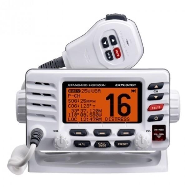 Радиостанция Standard Horizon GX-1600 морскаяStandard Horizon GX-1600 — морская бортовая радиостанция, работающая в частотном диапазоне VHF. Радиостанция заключена в очень компактный тонкий корпус (всего 3,5 — примерно вдвое уже, чем любая другая радиостанция подобного класса, представленная на рынке) и потому очень проста в установке.<br><br>Радиостанция Standard Horizon GX1600 оснащена встроенным ЦИВ класса D. Для постоянного мониторинга канала 70, даже во время работы с другим каналом, в устройство встроен дополнительный приемник. При активации функции бедствия (DISTRESS) радиостанция передает сигнал MAYDAY, включающий идентификационные данные судна, LAT/LON, время (при подключенном GPS-приемнике). Также DSC позволяет совершать индивидуальные вызовы, отправлять и запрашивать данные о местоположении и т.п.<br><br>Радиостанция EXPLORER GX-1600 использует технологию шумоподавления Clearvoice для уменьшения при передаче посторонних нежелательных шумов вроде звука от работы двигателя и ветра.<br><br><br>Встроенный ЦИВ класса D<br><br>Совместимость с дополнительной станцией RAM3 для удаленного управления VHF-радиостанцией<br><br>Программируемое и приоритетное сканирование, двойной мониторинг<br><br>Технология шумоподавления Clearvoice<br><br>Поддерживает ввод и хранение 100 путевых точек; навигация до путевых точек при подключенном GPS<br><br>Простой обмен данными о местоположении с другими судами, оснащенными DSC-оборудованием<br><br>Возможность задать имена каналов для облегчения их последующего поиска<br><br>Каналы погоды NOAA<br><br>Высокая степень водозащищенности<br><br>Вес кг: 1.00000000
