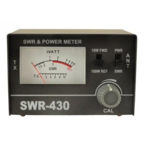 Измеритель КСВ Optim SWR-430 24-30 МГц  до 100 ВтИзмеритель КСВ SWR-430 предназначен для измерения коэффициента стоячей волны (КСВ) и мощности антенно-фидерного устройства (АФУ) в диапазоне 24-30 МГц с проходной мощностью не более 100 Вт, а также отраженной мощности в процентах. Применяется для настройки автомобильных и базовых антенн при их установке, а также своевременного выявления неисправносей АФУ во время их эксплуатации. Данная модель самая простая из всех имеющихся КСВ-метров и измерителей мощности и она очень проста в использовании. Любой новичок просто прочитав инструкцию сможет очень быстро научиться самостоятельно измерять и настраивать КСВ при помощи данного прибора. Для подключения SWR-430 к передатчику необходим кабель ( в комплекте с КСВ метром не идет).<br>