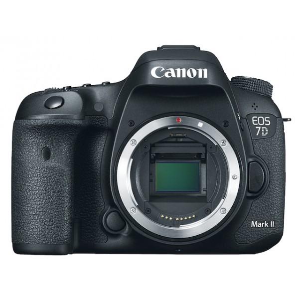 Зеркальный фотоаппарат Canon EOS 7D Mark II BodyФокусировочная система с 65 точками перекрестного типа и центральной точкой с рабочей чувствительностью -3 EV (приблизительно соответствует свету от полной луны)<br><br>Возможность автофокусировки с темной оптикой (максимальная апертура F8).<br><br>Интеллектуальная система фокусировки с функцией слежения и распознавания (iTR), автоматически переключающаяся между точками фокусировки после захвата объекта.<br><br>Серийная съемка 10 кадров в секунду с системой обнаружения мерцания. Автоматически отслеживает мерцание источников искусственного освещения и делает снимок на пике их мощности.<br><br>Выдержка 1/8000 с, X-синхронизация 1/250 с., ресурс затвора 200 000 снимков.<br><br>Датчик замера экспозиции с распознаванием цвета (RGB, 150 000 пикселей). Возможность установки точечного замера по выбранной точке фокусировки.<br><br>Видеосъемка FullHD со скоростью от 24 до 60 кадров в секунду, с двумя кодеками и тремя методами сжатия на выбор, а также с возможностью трансляции несжатого сигнала по HDMI (4:2:2).<br><br>Два разъема для карт памяти: SD и Compact Flash.<br><br>Пыле- и влагозащищенный магниевый корпус.<br><br>Вес кг: 1.00000000