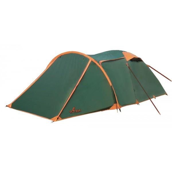 """Палатка Totem Carriage трекинговая3-местная трекинговая палатка. Один из двух тамбуров очень вместительный, на дополнительной дуге, с двумя входами. В тамбуре туристической палатки Totem Carriage 3 можно разместить рюкзаки, обувь и пользоваться горелкой во время непогоды. Легкая сборка, благодаря системе клипс: внутренняя палатка крепится к дугам, над тамбуром в тент продевается дополнительная дуга, затем при помощи колышков натягивается тент. Для крепления внутренней палатки и тента используются штырьки, которые вставляются в дуги. Возможна установка без растяжек. Относительно своей вместительности, эта модель весит неожиданно мало. Использование бюджетных материалов значительно снижает цену, а светлый тент помогает в защите от жары. Палатка предназначена для летних выездов на природу.<br><br>Конструкция - обтекаемая """"полусфера"""" с отдельной дугой для тамбура, легкая в установке на любой местности, очень устойчивая за счет дополнительной дуги и неприхотливая в эксплуатации. Один вход и очень вместительный тамбур. С комфортом вмещает три человека, при необходимости легко вмещает четверых, а в подходящих погодных условиях, можно разместиться в тамбуре.<br><br>Тент – ориентирован на жаркую легкую непогоду, устойчивый к растяжению, с двумя складными вентиляционными окнами. Обработан составом для поглощения UF лучей и пропиткой, предотвращающей распространение огня. Оборудован растяжками с вплетением светоотражающей нити и проклеенными швами.<br><br>Внутренняя палатка – 100% дышащий полиэстер, два больших вентиляционных окна, удобные, вместительные карманы. Входы D-образные, на качественных двухзамковых молниях с возможностью открывания в одно касание даже с занятыми руками, продублированы москитной сеткой.<br><br>Дно – устойчивый к механическим повреждениям терпаулинг, загнут по краям вверх для большей влагоустойчивости.<br><br>Каркас – несложная конструкция из двух перекрещивающихся фиберглассовых дуг, с дополнительной дугой для тамбура.<br><br>Комплект – тент, внутрен"""