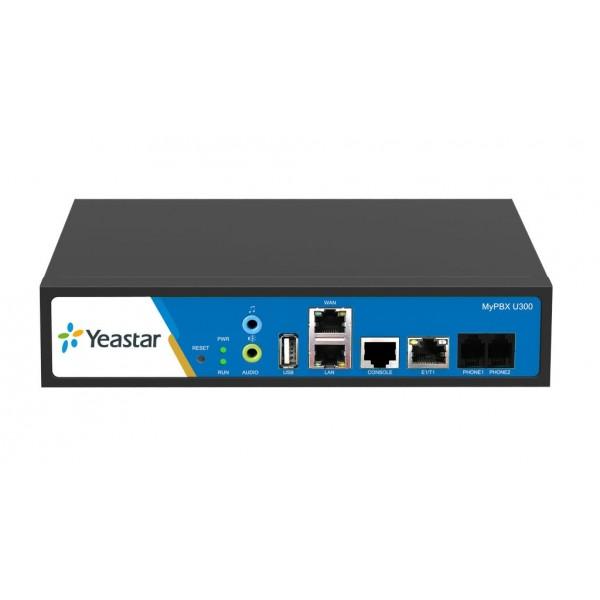 IP АТС Yeastar MyPBX U300Yeastar MyPBX U300 – это гибридная IP-АТС, оснащенная ARM-процессором от компании Texas Instruments, который позволяет добиться быстродействия, стабильной работы и непревзойденного качества передачи голоса и видео! Отличительной чертой MyPBX U300 является компактный корпус, формата Half-1U, с возможностью крепления в стойку и наличие порта E1/T1/J1. Гибридная IP-АТС  имеет ёмкость до трехсот внутренних абонентов и позволяет совершать до пятидесяти одновременных вызовов: до тридцати по потоку Е1 и до двадцати по SIP.<br><br>Вес кг: 3.20000000