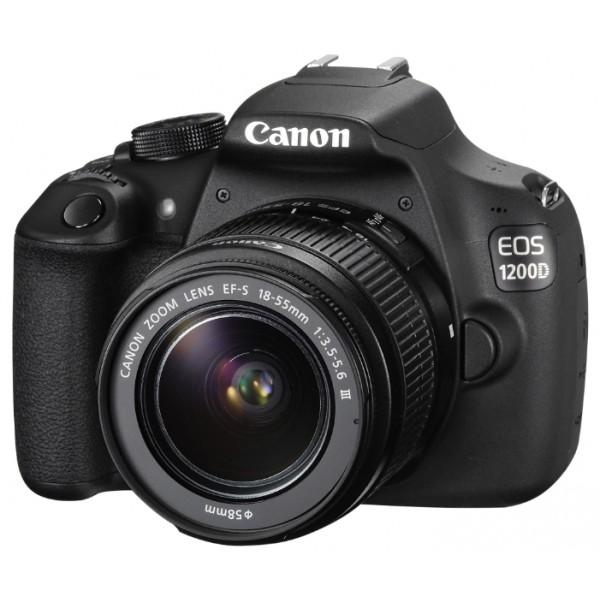 Зеркальный фотоаппарат Canon EOS 1200D Kit 18-55 DC IIIлюбительская зеркальная фотокамера, байонет Canon EF/EF-S, объектив в комплекте, модель уточняйте у продавца, матрица 18.7 МП (APS-C), съемка видео Full HD, экран 3, вес камеры без объектива 480 г<br><br>Вес кг: 0.50000000