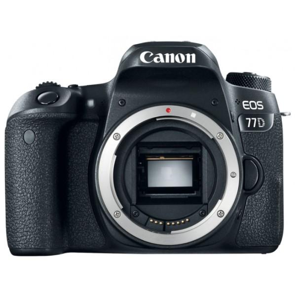 Зеркальный фотоаппарат Canon EOS 77D BodyКамера предлагает максимальное удобство управления органами и функциями меню, включая два диска, отвечающих за настройку диафрагмы и выдержкми, а также ЖК-экран на верхней панели с информацией о настройках. Если вы начинающий фотограф, вам непременно понравятся подсказки работы различных настроек меню. Камера поддерживает модули NFC и Wi-Fi. Легко передавайте фотографии или видео на смартфон и планшет, или на Canon Connect Station, редактируйте и делитесь со всеми. Технология Bluetooth® позволяет дистанционно включать камеру и просматривать фотографии, не вынимая ее из рюкзака, а также управлять процессом съемки со смартфона или нового пульта дистанционного управления BR-E1.<br><br>Вес кг: 0.90000000