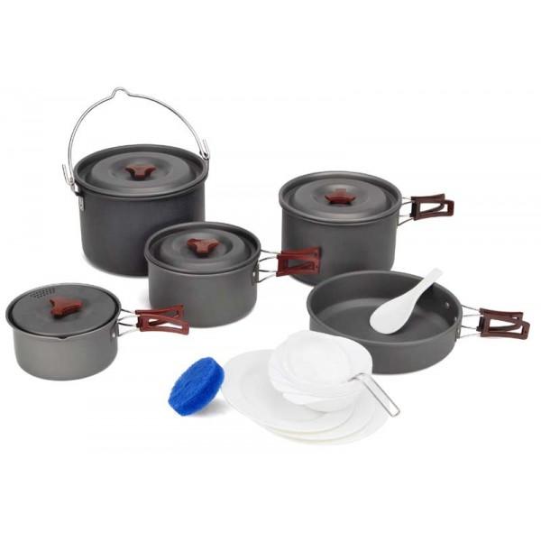 Набор посуды алюминиевый Fire-Maple FMC-213 на 6-7 человекВключает в себя 1 сковороду 218х55 мм/1,5 л, 4 котелка - самый большой котелок 213х140мм/4,2 л, большой котелок 195х120 мм/3 л, средний котелок 170х100 мм/1,8 л, маленький котелок 150х80 мм/1 л, 1 складной половник, 1 лопатку, 3 тарелки, 6 мисок и 1 губку для мытья посуды. Набор сделан из анодированного алюминия, жаропрочного, износостойкого и легкомоющегося. Набор поставляется с сетчатым нейлоновым мешочком для транспортировки и хранения. Подходит для приготовления пищи на 7-8 человек. Вес 1900 г.<br><br>Вес кг: 1.90000000