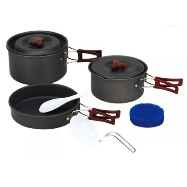 Набор посуды алюминиевый Fire-Maple FMC-202 на 2-3 человекаТуристический набор посуды на 2-3 персоны. Состоит из двух котелков с крышками, миски-сковородки, трех пластиковых чашек и двух ложек. Складывается по принципу матрешки.<br><br>Вес кг: 0.80000000