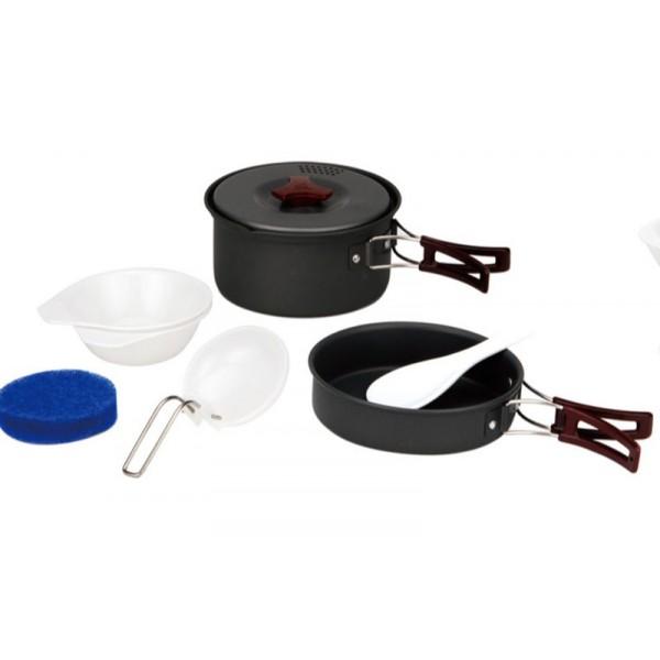 Набор посуды алюминиевый Fire-Maple FMC-203 на 1-2 человекТуристический набор посуды на 2 персоны. Состоит из котелка с крышкой, миски-сковородки, двух пластиковых чашек, двух ложек и губки. Складывается по принципу матрешки.<br><br>Вес кг: 0.50000000