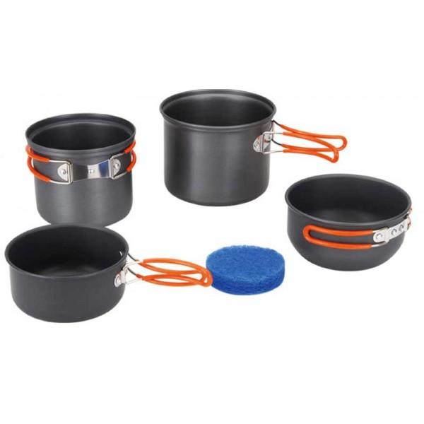 Набор посуды алюминиевый Fire-Maple FMC-208 на 2-3 человекаОчень легкий и компактный набор портативной посуды FMC-208, весит лишь 448 г. Сделан из анодированного алюминия, жаропрочного и устойчивого к износу, который легко мыть. Рассчитан на 2-3 человек. В комплект входят два котелка с мисками, которые при необходимости можно использовать как крышки. В большой котелок можно убрать маленький, а в последний, в свою очередь, сменный газовый картридж и горелку (например, FMS-102, FMS-103, HEAT CORE FMS-116T, MINI FMS-116 ). Все элементы, которых вы касаетесь при приготовлении, оснащены термоизолирующим покрытием, очень приятным на ощупь при эксплуатации. Набор поставляется с сетчатым нейлоновым мешочком для транспортировки и хранения. Размеры: 1 большой котелок -135х112 мм/1,3 л, 1 большая миска - 127х65 мм/0,7 л, 1 маленький котелок - 125х102 мм/0,9 л, 1 маленькая миска - 120х60 мм/0,5 л. Вес 448 г. Рассчитан на 2-3 человек.<br><br>Вес кг: 0.50000000
