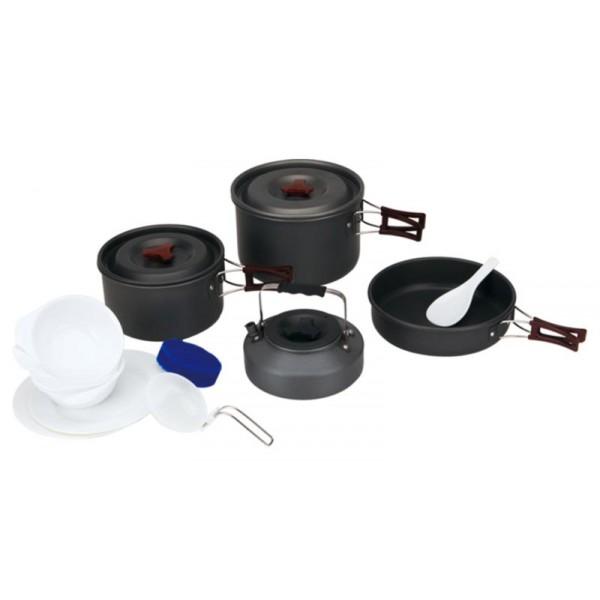 Набор посуды алюминиевый с чайником Fire-Maple FMC-209 на  4-5 человекаВ комплект входят 1 сковорода 197х50 мм/1,1 л, 1 большой котелок 195х120 мм/3л, 1 средний котелок 170х100 мм/1,8 л, 1 чайник 153х67 мм/0,8 л, 1 лопатка, 1 складной половник, 2 тарелки, 4 миски, 1 губка для мытья посуды и 1 ситичко для чая. Сковорода, котелки и чайник сделаны из анодированного алюминия. Жаропрочного, устойчивого к износу и легкомоющегося. Набор поставляется с сетчатым нейлоновым мешочком для транспортировки и хранения. Рассчитан на 4-5 человек. Вес набора 1185 г.<br><br>Вес кг: 1.18000000