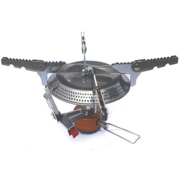 Горелка газовая Fire-Maple FMS-101Особенность газовой горелки FMS-101 заключается в максимально широком диаметре конфорки. Этот показатель составляет 80 мм, что позволяет достичь максимального радиуса пламени. А также газовая горелка FMS-101 имеет лапки-держатели, легко раскладывающиеся под 2 разных размера. Все это позволяет использовать посуду большого размера: сковороду, кастрюлю большой ёмкости. FMS-101 снабжена ниппелем, особой системой предотвращения потери топлива при каждом подсоединении и отсоединении сменного картриджа. Это позволяет в разы снизить расход жизненно необходимого топлива в путешествии. Модель FMS-101 дополнительно оснащена пьезоэлектрическим поджигом для простоты и удобства эксплуатации и приготовления пищи на природе. Газовая горелка FMS-101 выполнена из нержавеющей стали и алюминия. Эта модель отлично подходит для использования с резьбовыми сменными картриджами любых типов. Возможно подсоединение к цанговому баллону при помощи адаптера FMS-701.<br><br>Вес кг: 0.30000000
