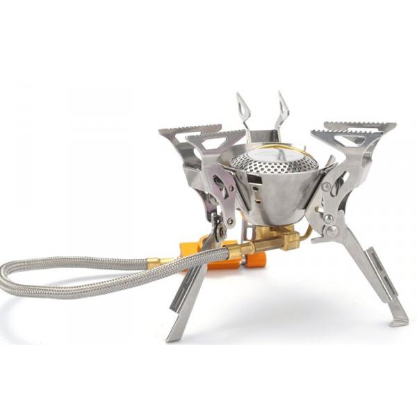 Горелка газовая Fire-Maple FMS-100 со шлангомFire-Maple FMS-100 - портативная газовая горелка с пьезоподжигом, конструкция которой позволяет максимально использовать площадь горения и гарантирует наиболее эффективный расход топлива и равномерную силу огня. Производство модели начинается с 2009 года и по сей день захватывает своим дизайном в стиле Трансформеры. Три парных складных опорных ножки из нержавеющей стали дополнительно усилены, что обеспечивает устойчивость горелки на любой поверхности. Вся конструкция обеесппечивает высокую прочность модели. Двухканальная система предварительного нагрева и встроенный ветровой экран обеспечивают достаточно сильное пламя. Гибкий шланг позволяет при необходимости перевернуть газовый баллон, чтобы использовать топливо полностью, а при необходимости удалить сменный картридж на требуемое расстояние от горелки. Газовая портативная горелка FMS-100 снабжена ниппелем, особой системой предотвращения потери топлива при каждом подсоединении и отсоединении сменного картриджа. Это позволяет в разы снизить расход жизненно необходимого топлива в путешествии.<br><br>Эта модель отлично подходит для использования с резьбовыми сменными картриджами любых типов. Возможно подсоединение к цанговому баллону при помощи адаптера FMS-701.<br><br>Вес кг: 0.40000000