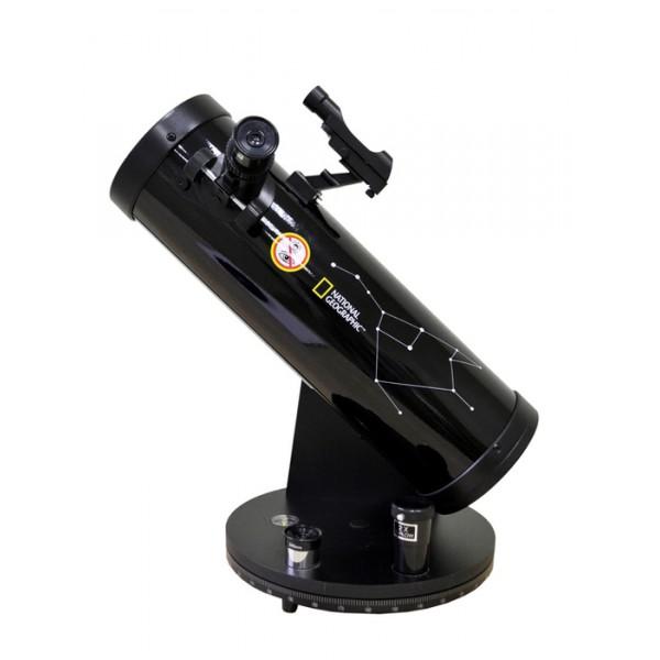 Телескоп Bresser National Geographic 114/500Bresser National Geographic 114/500 – это рефлектор Ньютона, установленный на азимутальную монтировку Добсона. Данная модель отличается качественной оптикой, простым управлением и очень компактными размерами. С помощью этого телескопа вы сможете увидеть двойные звезды с разделением 1,5 и более, десятки шаровых скоплений, планетарных и диффузных туманностей, все объекты каталога Мессье и наиболее яркие объекты из каталога NGC.<br><br>Диаметр главного зеркала составляет 114 мм, благодаря чему телескоп собирает в три раза больше света, чем модели с апертурой 76 мм, а значит, вы сможете увидеть больше астрономических объектов и их деталей. Телескоп комплектуется двумя окулярами (6 мм и 20 мм) и двукратной линзой Барлоу. Диапазон увеличений уже в базовой комплектации составляет 25–167 крат. Искатель с красной точкой позволяет легко и быстро навестись на интересующий вас астрономический объект. При изучении Луны рекомендуется использовать лунный фильтр (в комплекте). Этот аксессуар уменьшает яркость свечения Луны, поэтому детали рельефа становятся более контрастными и четкими.<br><br>Оптическ ая труба устанавливается на монтировку Добсона. Эта монтировка очень проста в сборке и не вызовет трудностей даже у новичков. Встроенный в основание монтировки компас значительно упрощает ориентирование в ночном небе.<br>