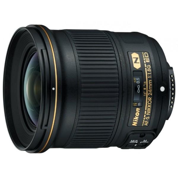 Объектив Nikon 24mm f/1.8G ED AF-S NikkorСветосильный объектив формата FX с фиксированным фокусным расстоянием 24 мм. Благодаря максимальной диафрагме f/1,8 этот светосильный сверхширокоугольный объектив позволяет с легкостью снимать динамичные сюжеты и создавать изображения с эффектом полного присутствия. Универсальная модель AF-S NIKKOR 24mm f/1.8G ED отлично подходит для съемки живописных ландшафтов, величественных зданий, детализированных городских пейзажей и просторных интерьеров. Используя светосильный объектив с диафрагмой f/1,8, можно без труда получить кадры с малой глубиной резко изображаемого пространства и мягкой размытостью заднего плана. Он позволяет снимать резкие изображения даже в условиях недостаточного освещения. Небольшое минимальное расстояние фокусировки (всего 0,23 м) открывает дополнительные возможности для съемки. А благодаря легкому компактному корпусу эту модель удобно брать с собой в поездки.<br><br>Светосильный объектив с фиксированным фокусным расстоянием 24 мм: сверхширокоугольный объектив формата FX с фокусным расстоянием 24 мм (36 мм при использовании с зеркальной фотокамерой Nikon формата DX). Отлично подходит для съемки ландшафтов, архитектурных сооружений, интерьеров и городских пейзажей, а также создания видеороликов.<br>Высокая светосила f/1,8: обеспечивает создание четких изображений с малой глубиной резко изображаемого пространства и мягкой размытостью заднего плана. Воспользуйтесь дополнительными возможностями съемки с более короткой выдержкой и получайте неизменно четкие снимки даже в условиях недостаточной освещенности. Кроме того, изображение в видоискателе всегда будет ярким и хорошо различимым.<br>Небольшой легкий корпус: благодаря сверхкомпактной конструкции этот объектив удобно носить с собой, поэтому он станет отличным спутником в поездках.<br>Изображения с высоким разрешением: объектив прекрасно подходит для цифровых зеркальных фотокамер с высоким разрешением, обеспечивая высокую четкость и контраст по всему кадру. Б